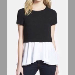 Bailey 44 black and white peplum top size small